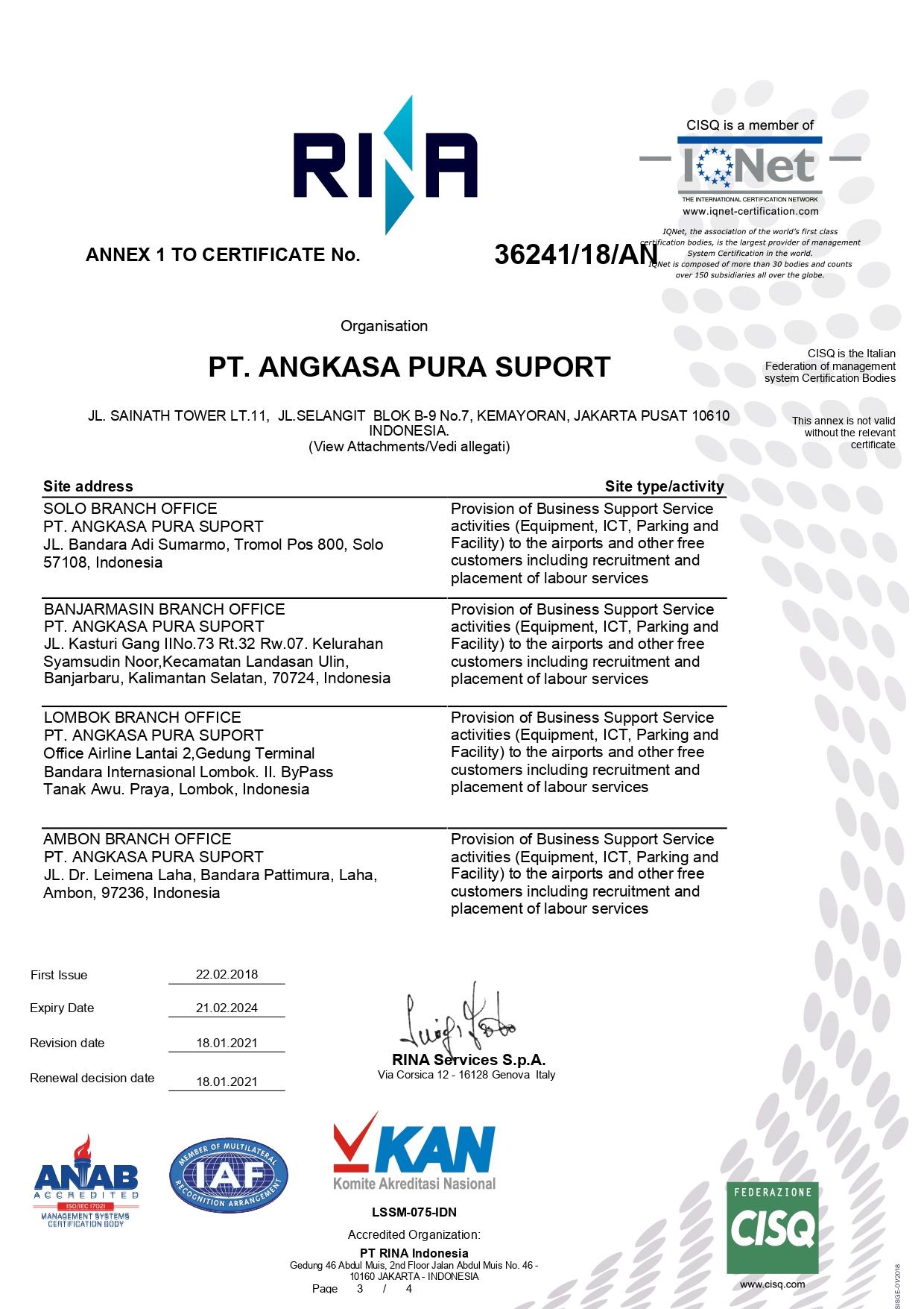 Certificate Rina - Annex 1
